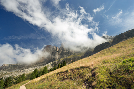 sloping: sloping meadow with Dolomites in the background