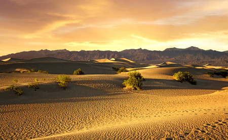 death valley: beautiful sunset over the sand dunes in Death Valley