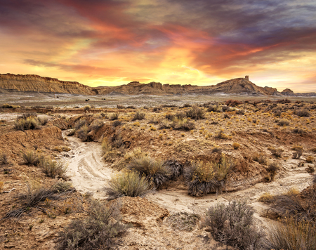 desolate: scenic view of sunset in a desolate landscape, Utah