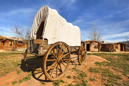 covered wagon: old covered wagon Stock Photo