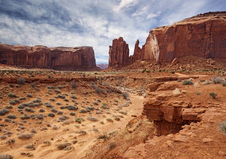 monument valley view: panoramic view of rock formations in monument valley