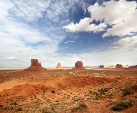 monument valley view: panoramic view of the monument valley under a cloudy sky