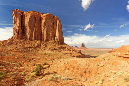 butte: butte rock formation in monument valley, arizona