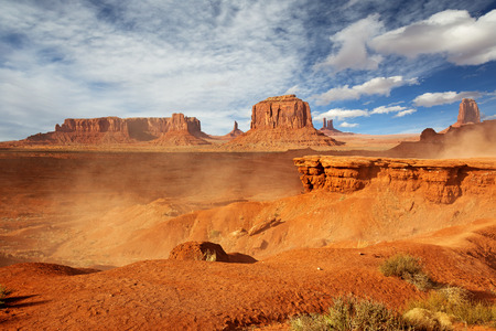 monument valley view: panoramic view of monument valley in a windy day