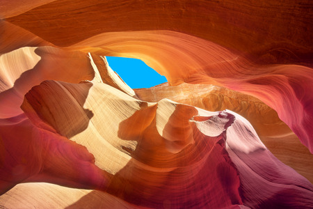 crevice: beautiful colors of the stone in a crevice of antelope canyon Stock Photo