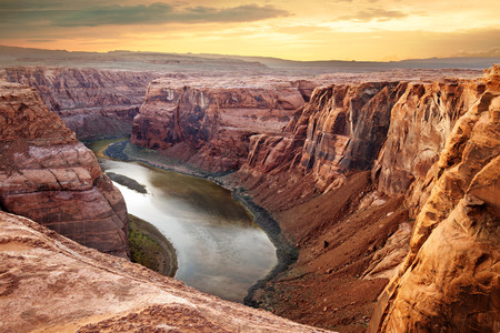 Colorado river deep canyon Horseshoe Bend, Southwest Archivio Fotografico