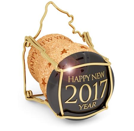 geïsoleerd van het nieuwe jaar 2017 champagnekurk Stockfoto