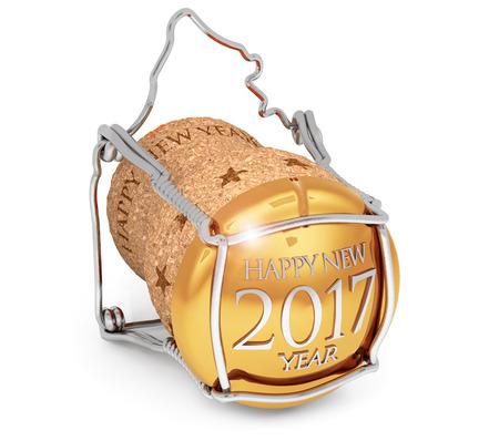 nombre d or: nouvelle année bouchon de champagne de 2017 isolé sur blanc