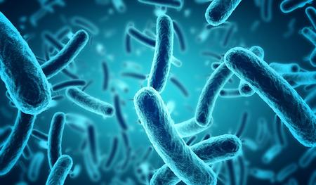 close-up van 3D microscopische blauwe bacteriën