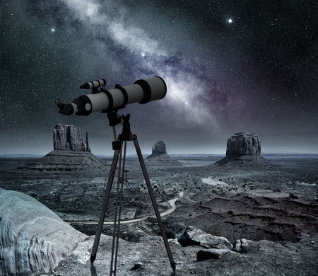 monument valley view: telescope pointed at the milky way in the monument valley
