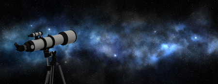 deep blue:  telescope pointing at the bright milky way,  3d illustration Stock Photo