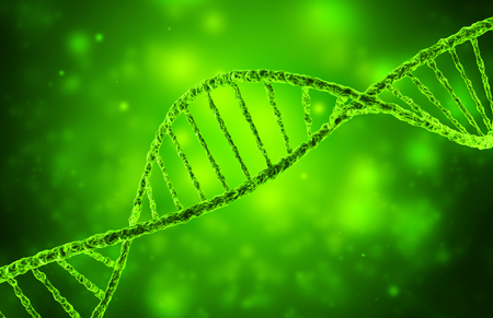 genomes: 3d illustration of dna helix in green background