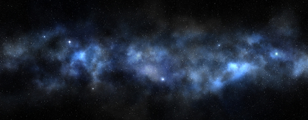 deep blue: bright milky way in a black sky, 3d illustration