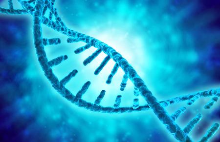 genomes: 3d illustration of dna helix on blue background