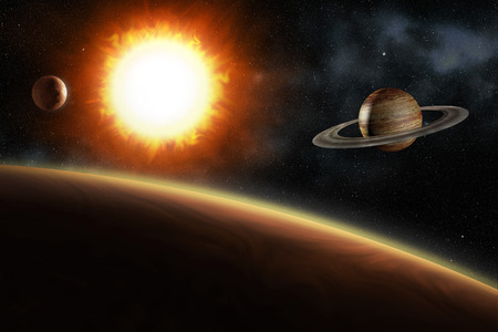 big bang: glowing sun and solar system planets, 3d illustration