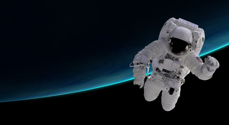 astronaut orbiting the blue planet, 3d illustration - elements of this image furnished by NASA