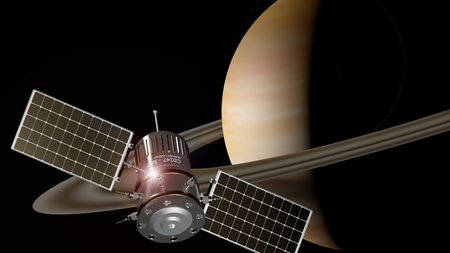 spaceship orbiting the planet saturn, 3d illustration