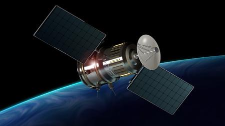 satellite 3d: satellite orbiting the planet earth, 3d illustration