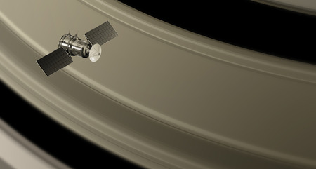 space probe orbiting the saturn rings, 3d illustration