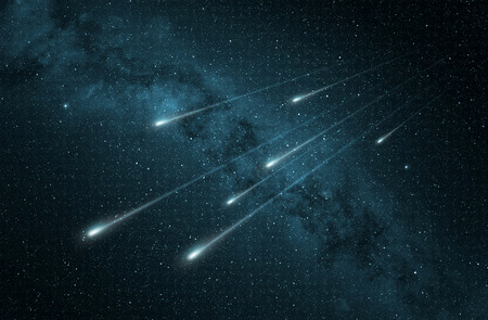 meteor: meteor shower in the starry night sky