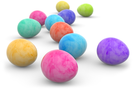 easter eggs painted in watercolor isolated on white Stock Photo