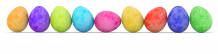 rows: row of easter eggs painted in watercolor Stock Photo