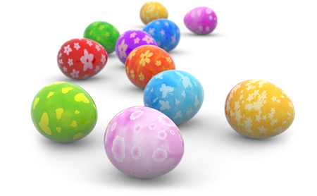 group of colorful easter eggs on white background Stock Photo