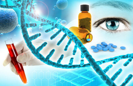 biochemistry and pharmaceutical research concept background 3d illustration Stok Fotoğraf - 74263825