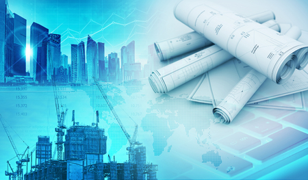 building site: building constructions and engineering abstract blue background 3d illustration Stock Photo