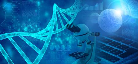 유전자 연구 추상 파란색 배경 3d 그림