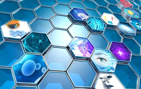 scientific research concept hexagonal backdrop, 3d illustration 写真素材