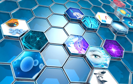 scientific research concept hexagonal backdrop, 3d illustration Standard-Bild