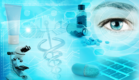 illustration industry: pharmaceutical industry abstract concept background 3d illustration