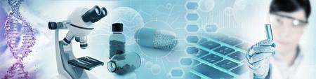Microbiologie en farmaceutisch onderzoek achtergrond, 3d illustratie Stockfoto - 78994327