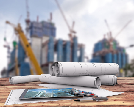 blueprints and tablet on office table in the construction site, 3d illustration Stock Photo