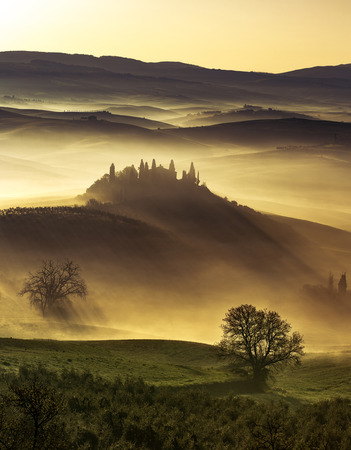 dream land: dreamlike dawn in the idyllic Tuscan hills