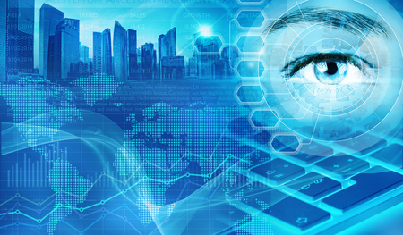 eye and skyscrapers in abstract financial background Standard-Bild