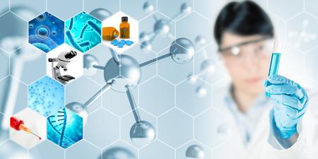 Microbiología de investigación resumen concepto de fondo, ilustración 3D