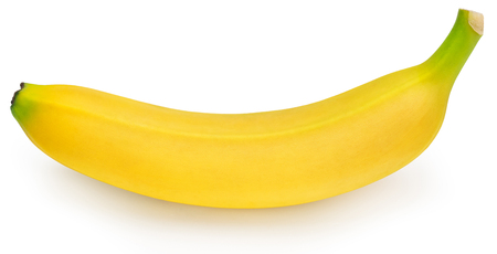 one whole ripe banana isolated on white background Фото со стока