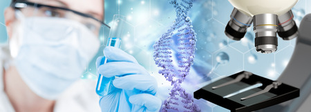 scientist, DNA helix and microscope in blue background, 3d illustration