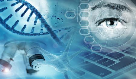 ADN, microscopio, célula nerviosa y ojo en fondo azul, ilustración 3d Foto de archivo
