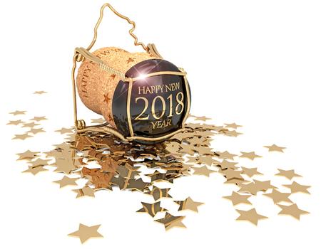 champagnecork en confettien van gouden die sterren op witte, 3d illustratie worden geïsoleerd Stockfoto
