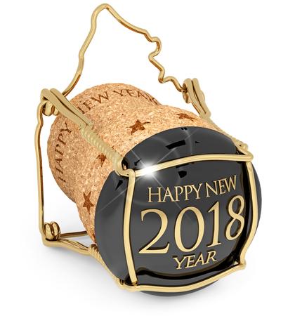 Cupê de Champagne de Ano Novo 2018 isolado, ilustração 3d Foto de archivo - 88144819