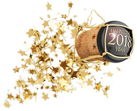 champagne bottle cork popping above golden stars explosion, 3d illustration
