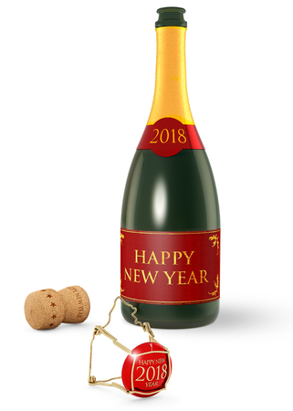 uncork: champagne bottle and cork isolated on white background, 3d illustration
