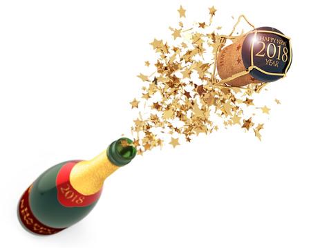 stars spilling out of a champagne bottle, 3d illustration