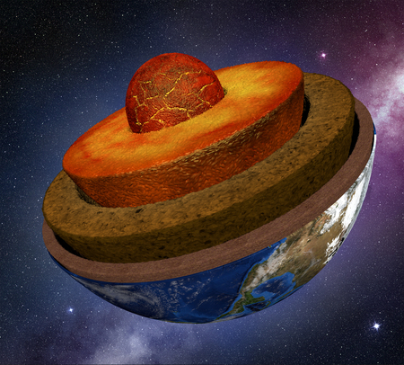 earth cross section in the space, 3d illustration Stock Photo