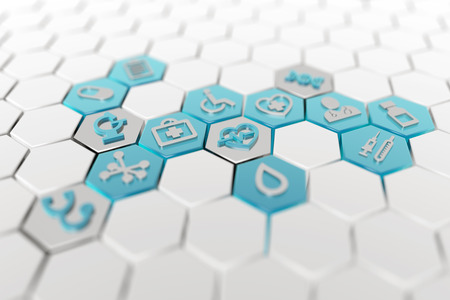 medical icons in a white hexagonal background, 3d illustration Stock fotó