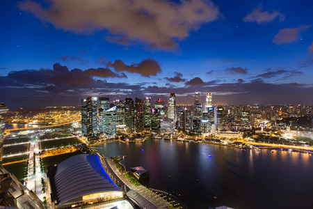 lights of the singapore downtown at evening