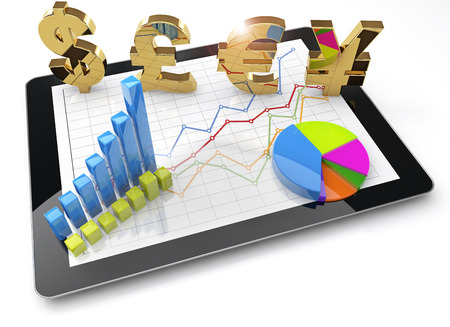 currency symbols and charts on tablet isolated, 3d illustration